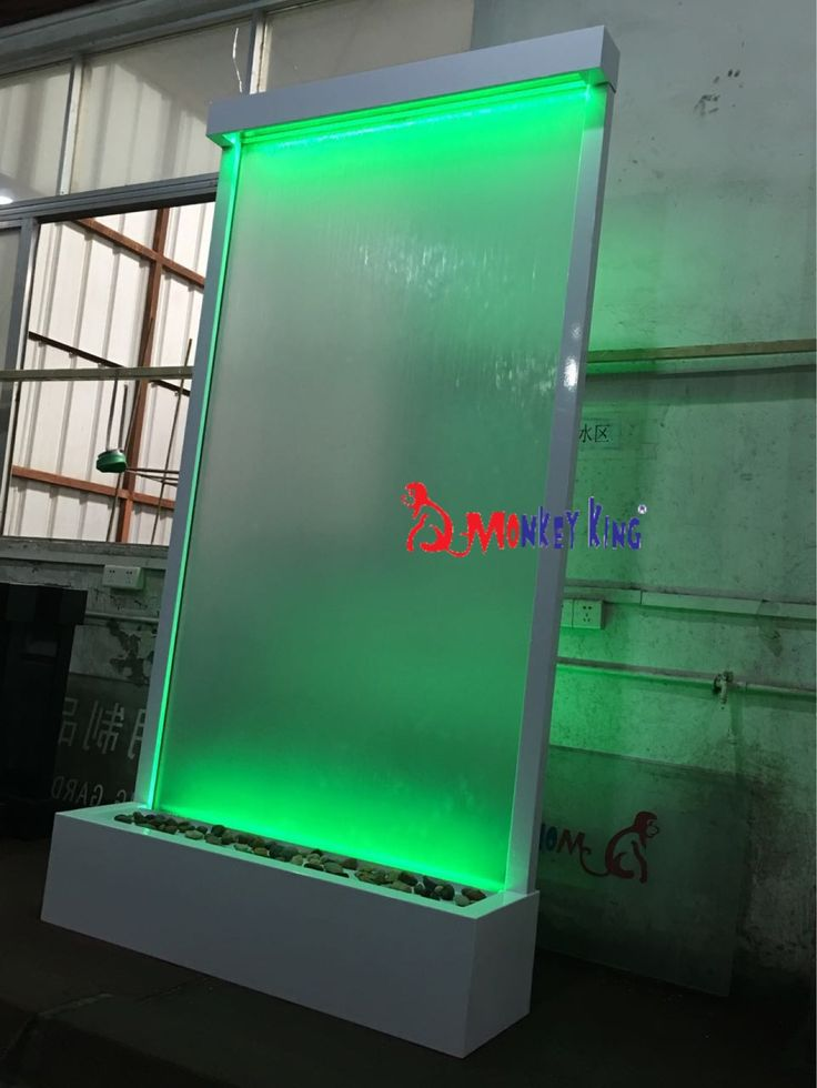 127cm wide by 242cm high floor standing indoor waterfall fountain.White frame ,frosted glass.
