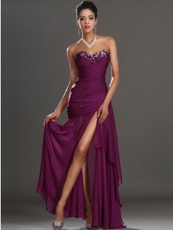 Trumpet/Mermaid Sleeveless Sweetheart Chiffon Ankle-Length Beading Dresses