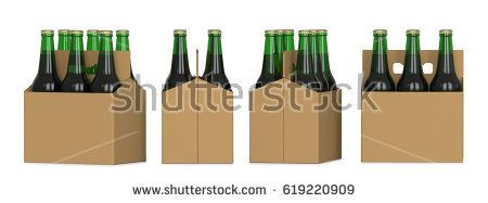 Four views of a six pack of green beer bottles in cardboard box. 3D render, isolated on white background.