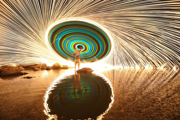 Glow sticks and steel wool generate a wheel of light and color in Coronado…