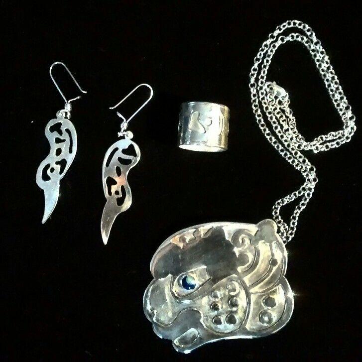 Maya culture, medallion, ring, earings of silver 950
