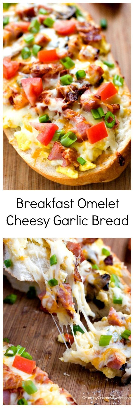Breakfast Omelet Cheesy Garlic Bread easy cheesy garlic bread topped with scrambled eggs, bacon, ham, peppers, mushrooms and plenty of cheese! Breakfast just became fun!