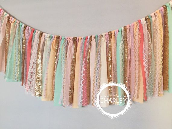 Coral Peach Mint Pink & Gold sequin garland banner by ohMYcharley