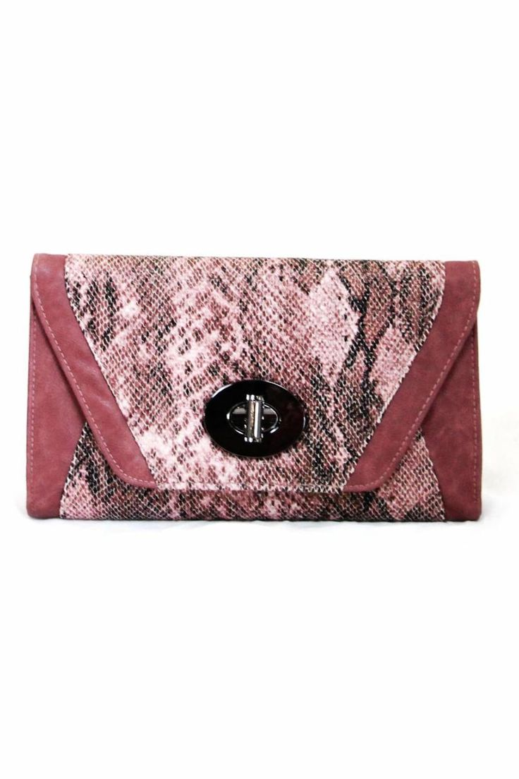 """Python print faux leather envelope with chain shoulder strap.    Measures: 12"""" x 7""""   Mauve Python Clutch by Golden Stella . Bags - Clutches - Casual Kentucky"""