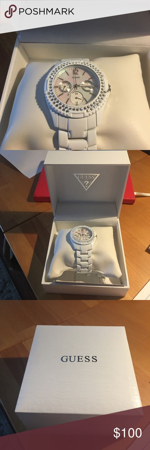 White ceramic guess watch Like new with box and extra links- needs battery. Guess Accessories Watches