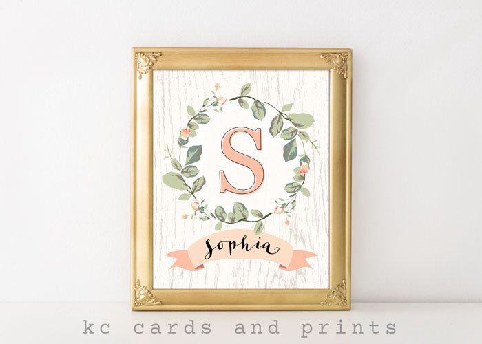 $7.50 Sophia Name Art, Nursery Name Sign, Nursery Wall Art, Letter S, Monogram Nursery Art, Blush Peach, Rustic Nursery Decor, Digital Print by KCCardsandPrints on Etsy https://www.etsy.com/listing/514982835/sophia-name-art-nursery-name-sign