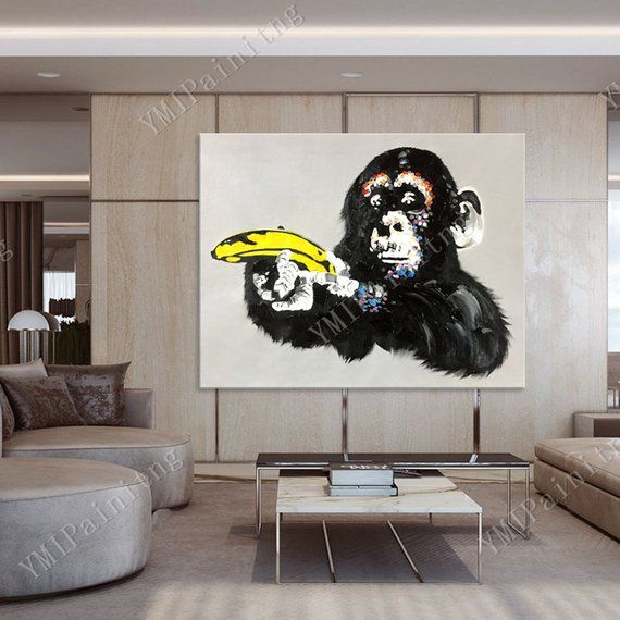 Pop Art Ape Paintings On Canvas Original Art Painting Black Etsy Original Art Painting Pop Art Animals Pop Art