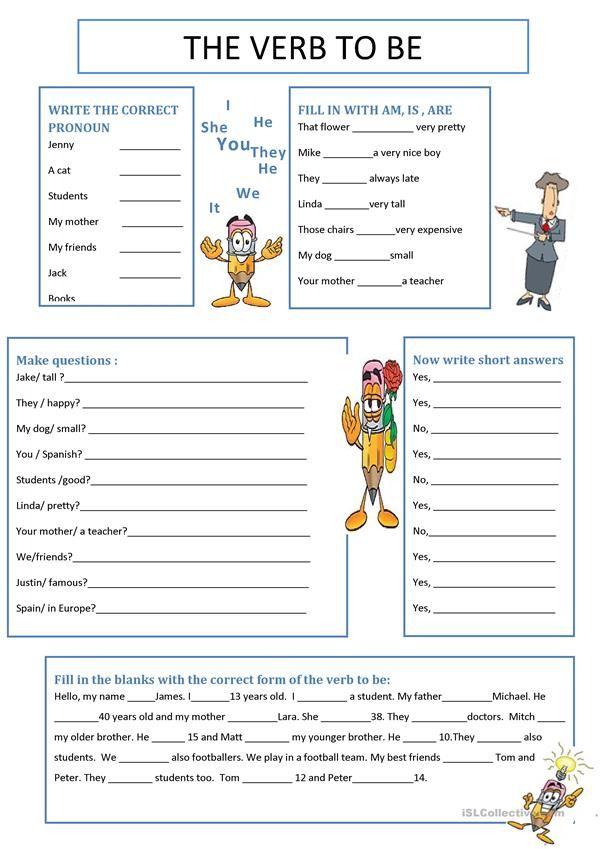 The Verb To Be English Verbs English Grammar English Grammar Worksheets