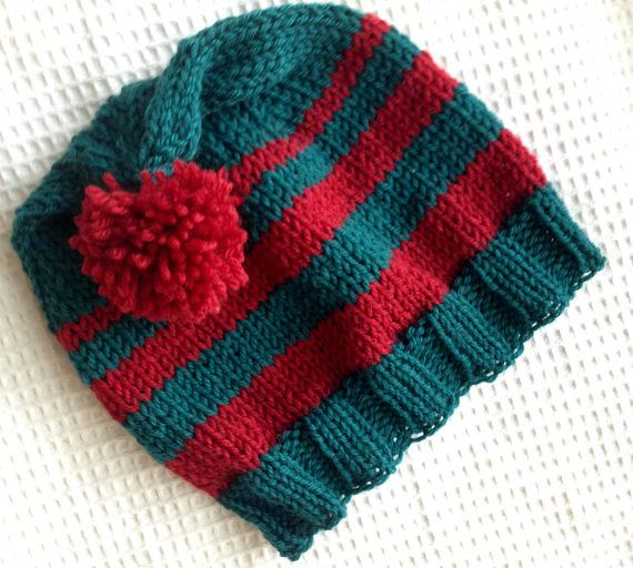 Teal and Red Handknit Wool Hat with Pompon. Good Holiday Hat