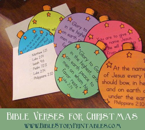 Christmas Bible Verse Ornaments & Envelope for scripture memorization in December! www.BibleStoryPrintables.com