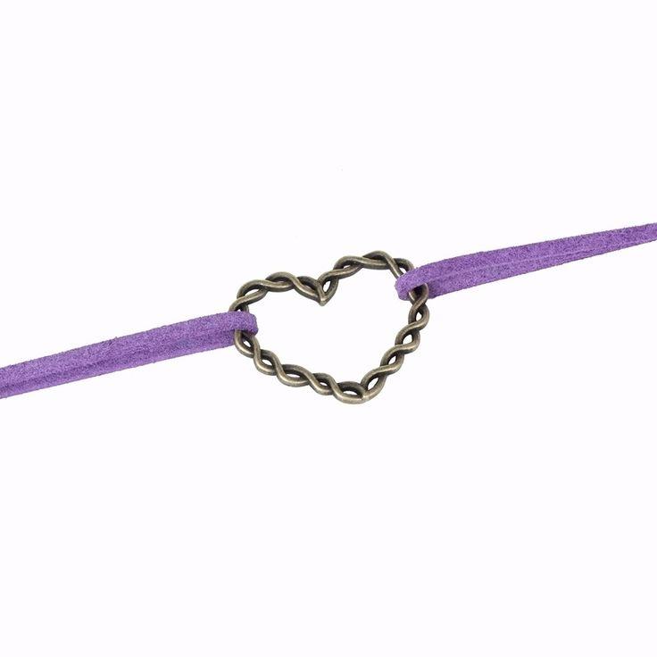 Purple Velvet Double Choker Necklace with Heart Pendant