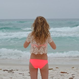 Cute neon pink bathing suit and cover up