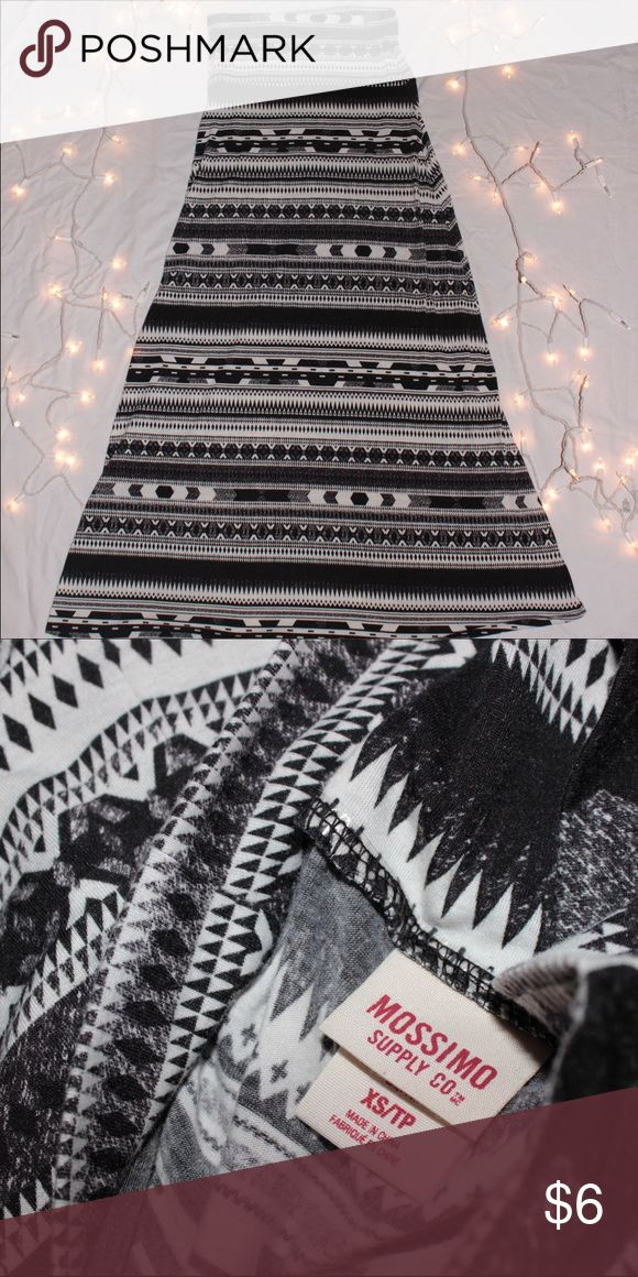Mission Black Tribal Maxi Skirt {Mossimo {Black and White Tribal Print {Size Extra Small, 40 inches Tall  {95% Polyester, 5% Spandex {Comfortable Soft & Stretchy Fabric  {Excellent, Like new Condition Mossimo Supply Co. Skirts Maxi