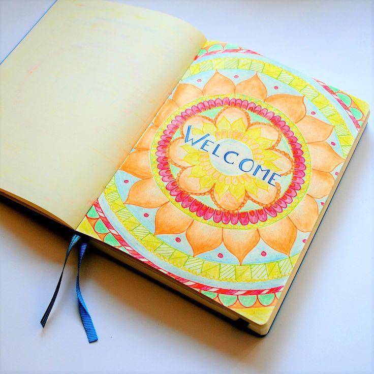 Bullet Journal Ideen - die erste Seite in deinem Bullet Journal mit Buntstiften und einem Mandala gestalten