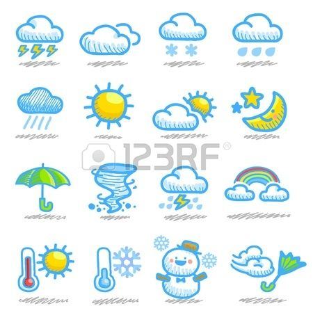 hand drawn weather icon set Stock Vector