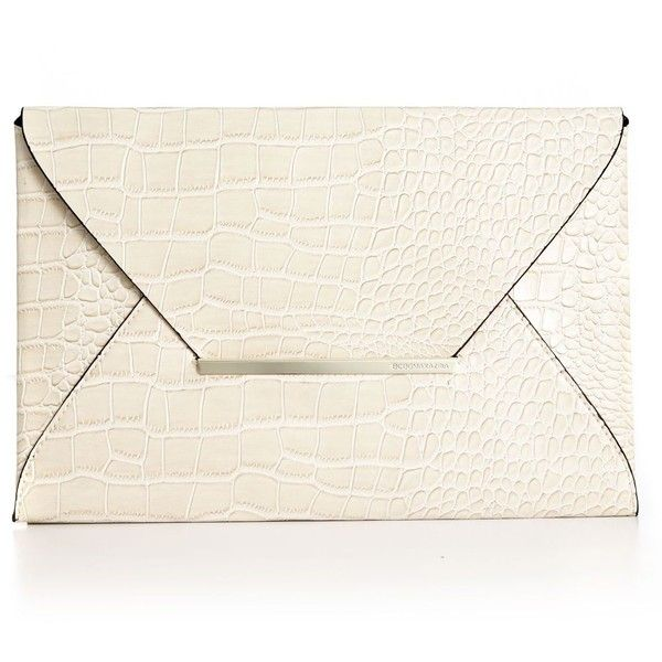 BCBGMAXAZRIA Handbag, Croco Envelope Clutch ($49) ❤ liked on Polyvore featuring bags, handbags, clutches, accessories, purses, evening handbags, vegan handbags, man bag, envelope clutch bag and white purse