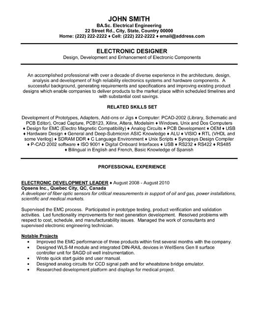 Click Here to Download this Electronic Designer Resume Template! http://www.resumetemplates101.com/Engineering-resume-templates/Template-355/