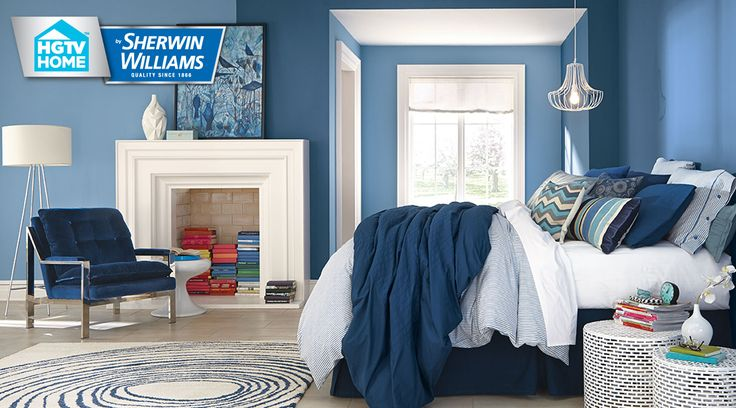 Sherwin williams blue denim light blue noteable hue or open seas add a red showstopper - Bed room color for girls ...