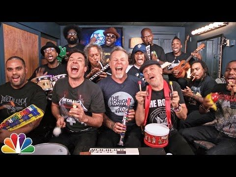 "Jimmy Fallon, Metallica & The Roots Sing ""Enter Sandman"" (Classroom Instruments) - YouTube"