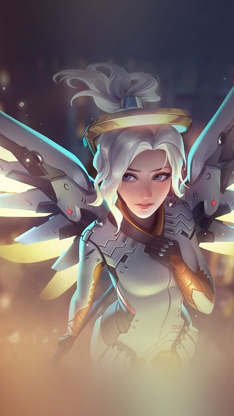 Mercy Overwatch Angel Healer Game Art Illustration #iPhone #6 #plus #wallpaper