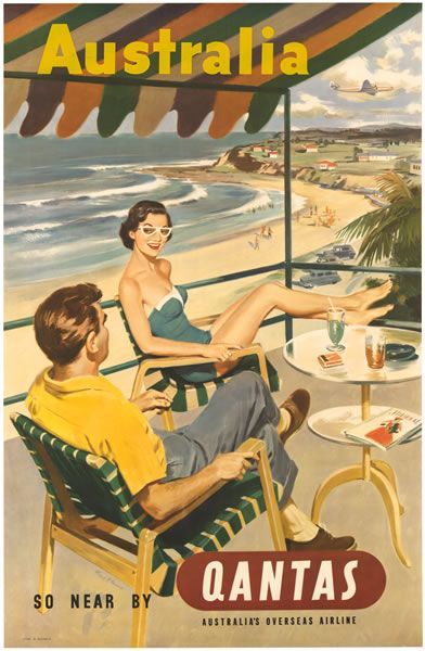Qantas Airline vintage travel poster - Australia beach