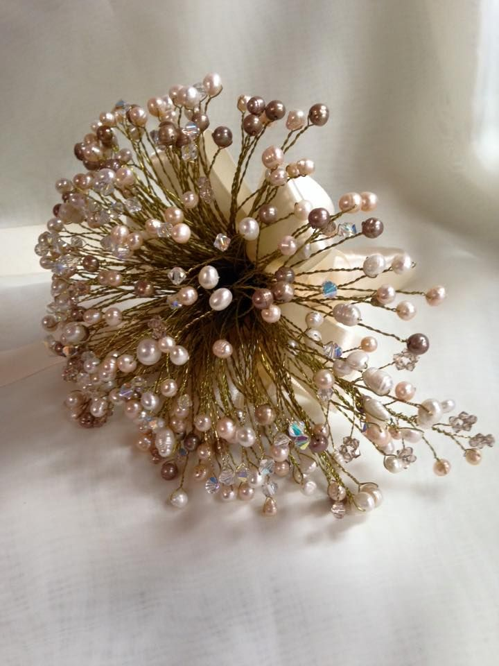 Freshwater pearl and swarovski crystal beaded bridal bouquet.