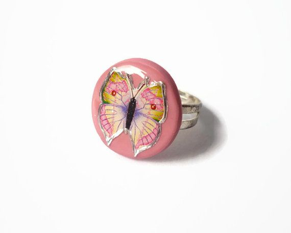 Pink butterfly ring handmade ring polymer clay by treasurecreator, $12.00