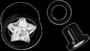 Piercing Schmuck Shop. Ohr Piercing Stahl Flesh Tunnel schwarz in 6-16 mm mit Stein Stern