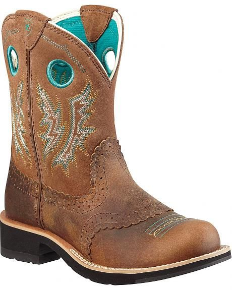 Ariat Fancy Stitched Saddle Vamp Fatbaby Boots  Round Toe