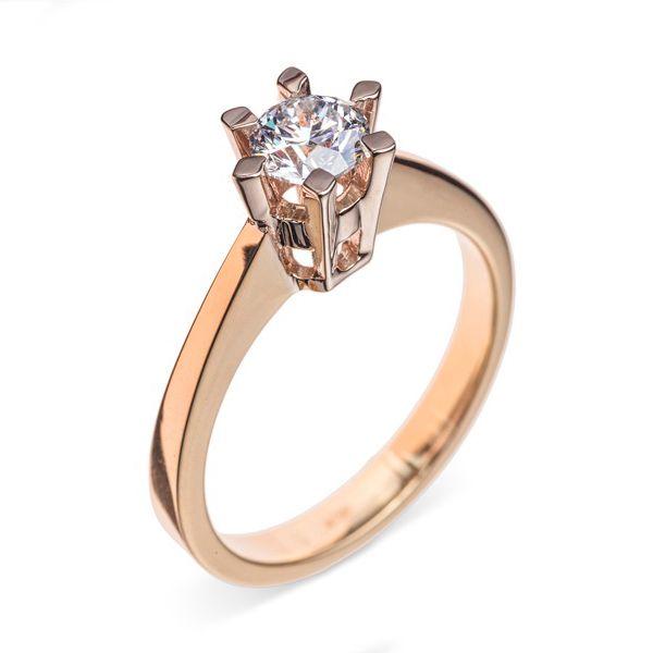 Золотое кольцо для помолвки с бриллиантом Артикул R0589