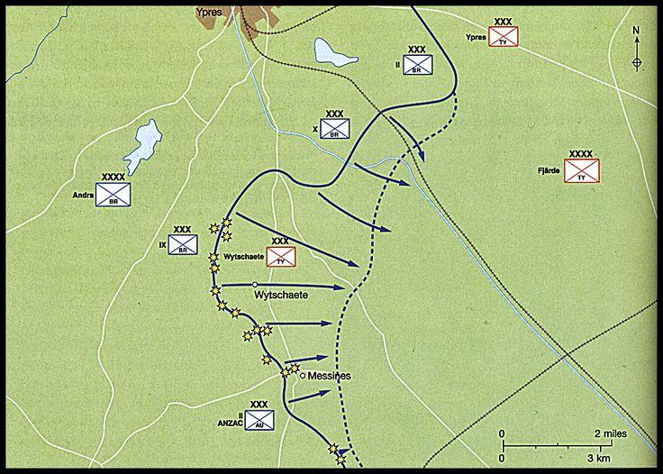 """De brittiska styrkorna kunde erövra nästan alla sina mål med endast små förluster, vilket visade på nyttan av Plumers taktik, anfall mot begränsade mål istället för jätteoffensiver. De brittiska förlusterna uppgick """"endast"""" till 16 500. På en enda dag förlorade tyskarna 25 000, varav ungefär 10 000 i explosionen."""