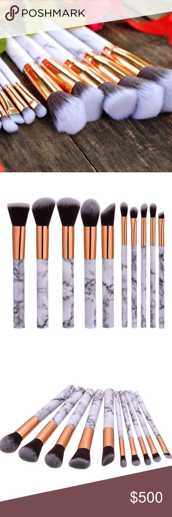 🎉HP❗️10 Piece Marble Pattern Makeup Brush Set White and gray marble pattern handle. Synthetic brush. Limited quantities! Brushes will arrive in a sealed bag. Makeup Brushes & Tools