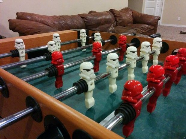 Printed Stormtrooper Helmets Turn A Foosball Table Into An Imperial Battle