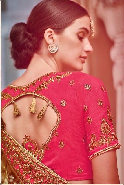 2bc6c776a1 Golden brown pure banarasi silk jacquard wedding saree 2007   hud ...