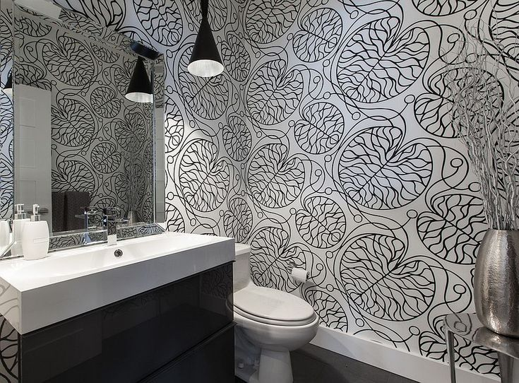 Black and white Marimekko patterned wallpaper for the contemporary bathroom Always on Trend: 20 Powder Rooms in Black and White