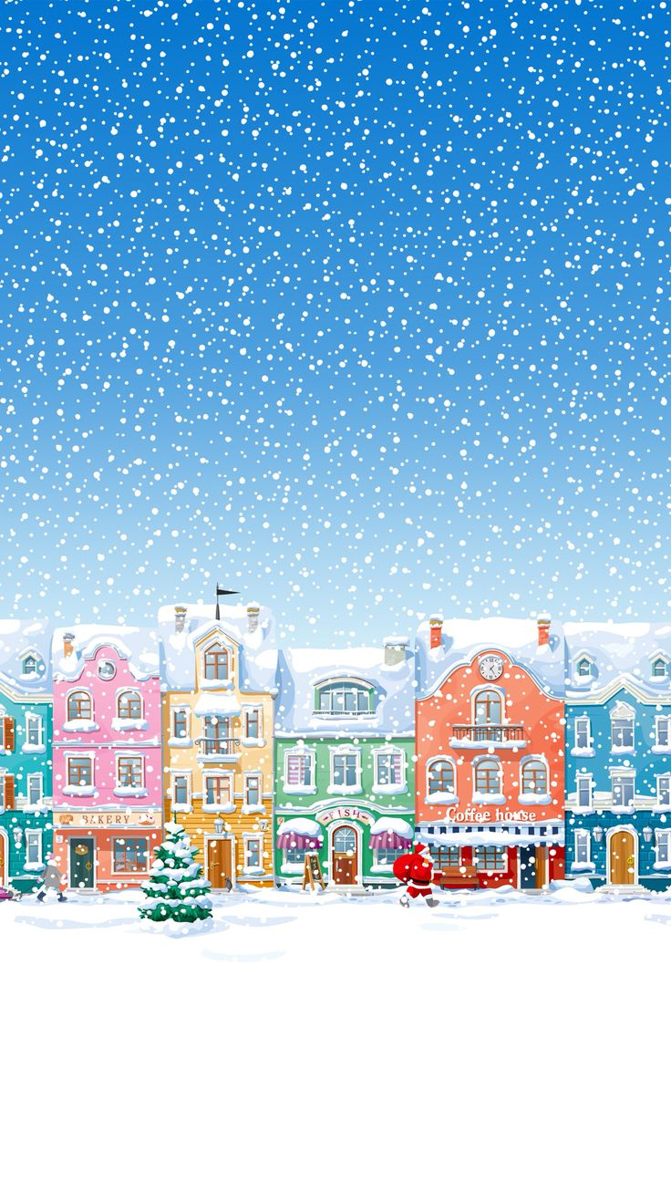 Snowy Town Santa Claus Delivering Christmas Presents iPhone 6 wallpaper                                                                                                                                                                                 More