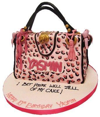 Pink Leopard Print Bag Cake - bet you're well gel!