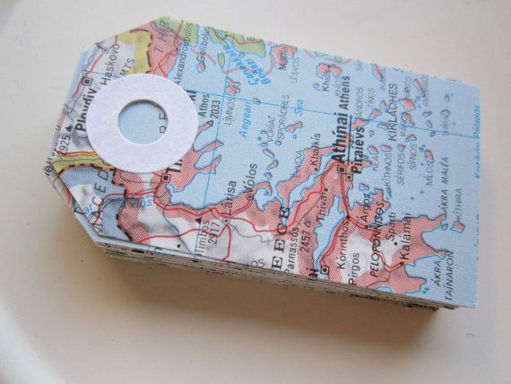 map gift tags, vintage map tags, travel theme, destination wedding, map favor, map theme, gift tags, 25, atlas, bon voyage, wedding tags. $10.00, via Etsy.