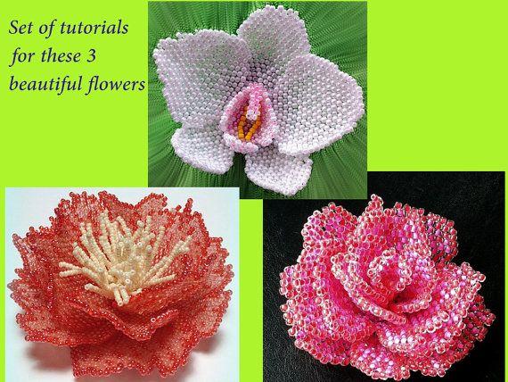 Set of tutorials - Rose, peony, orchid peyote tutorials - artisan beaded flowers photo tutorials / patterns