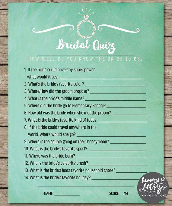 Mint Watercolor Bridal Quiz Bridal Shower Wedding Game In 2020