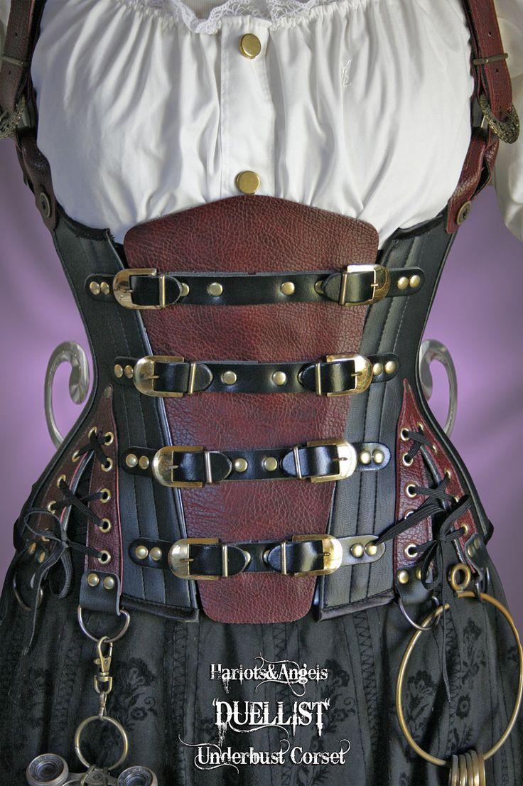 "26"" waist  Steampunk UnderBust Explorer Corset Veggie Leather 'Duellist'. $235.00, via Etsy."