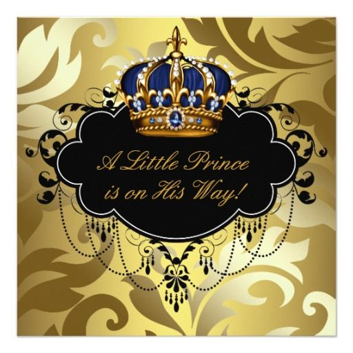 royal navy blue black gold prince baby boy shower card