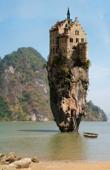 Cool houses! oneleafdesigns...cave or rock house on a bay... Actually, it is a Photoshopped picture of a real house melded with a picture of a stone formation from SE Asia.