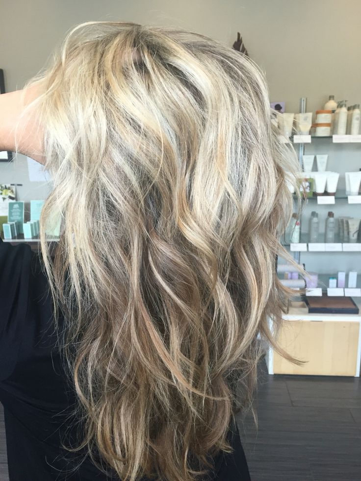 Sandy blonde, light blonde, pale blonde, dimensional blonde, ash blonde, long hair, beach waves