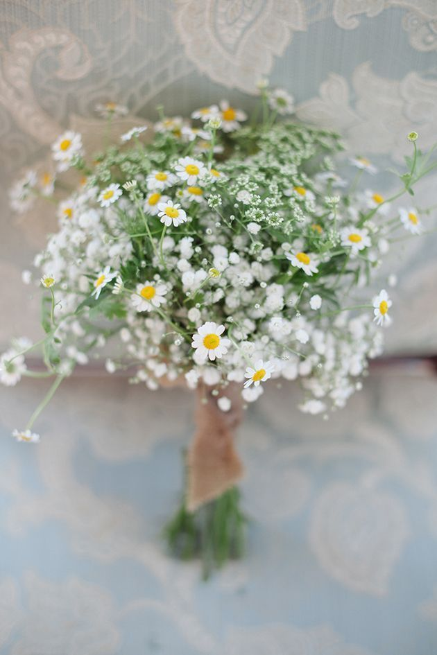 white wildflower bridal bouquet / http://www.deerpearlflowers.com/chamomile-daisies-wedding-ideas/