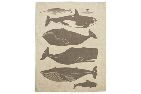 Whales Tea Towel: This towel is made in the USA by Enormous Champion on 100% Belgian linen. $25