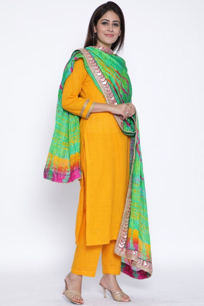 ee47364fc5a900 anokherang Combos Mustard Gota Kurti with Pants and Sea Green-Mustard Tie &  Dye Dupatta