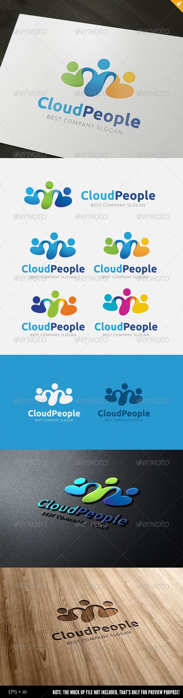 Cloud People Logo #GraphicRiver This logo design for all creative business. Consulting, Excellent logo,simple an