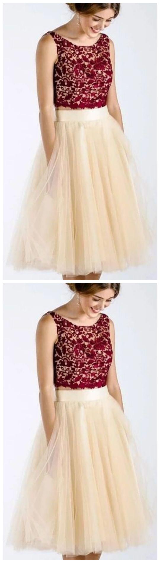 Prinzessin zweiteilige Burgunder und Creme kurze Heimkehr Kleid