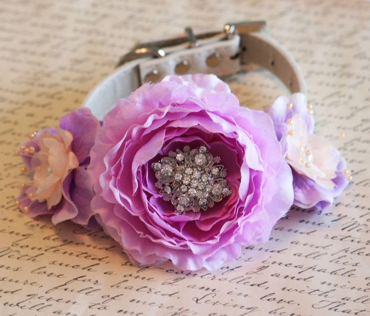 #Peach #Lavender #wedding dog collar, Floral Dog Collar, Pet Wedding Accessory, Peach and Lavender wedding accessory, Pearls, Rhinestones